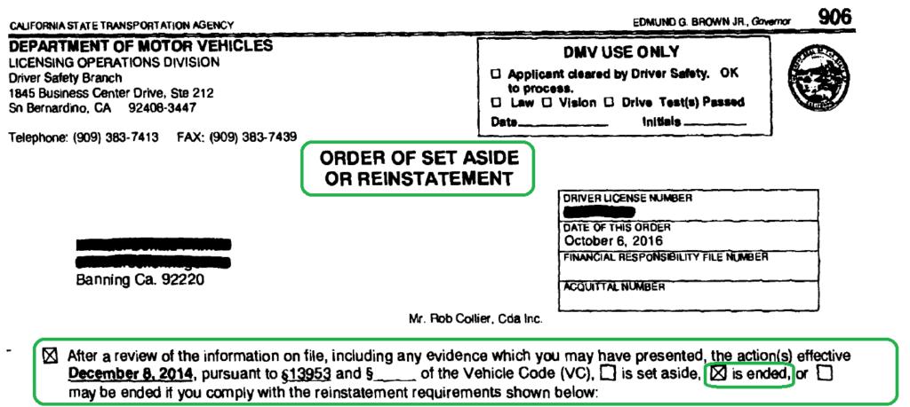 Order of Set Aside or Reinstatement