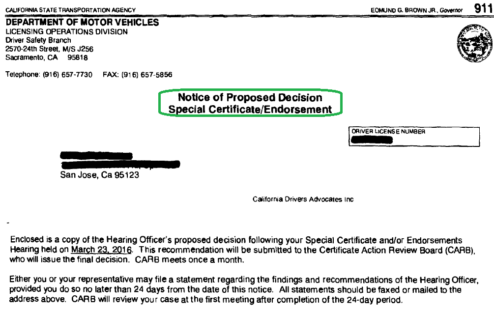 Notice of Proposed Decision Special Certificate Endorsement