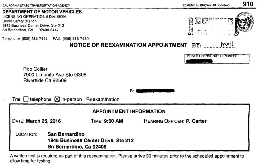 notice of re-examination appointment - california dmvcalifornia dmv