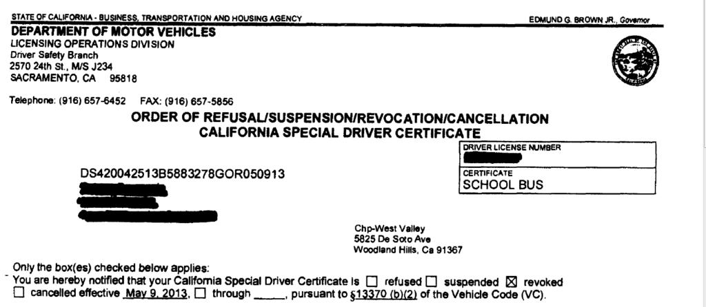 Refusal/Suspension/Revocation/Cancellation Special Driver ...