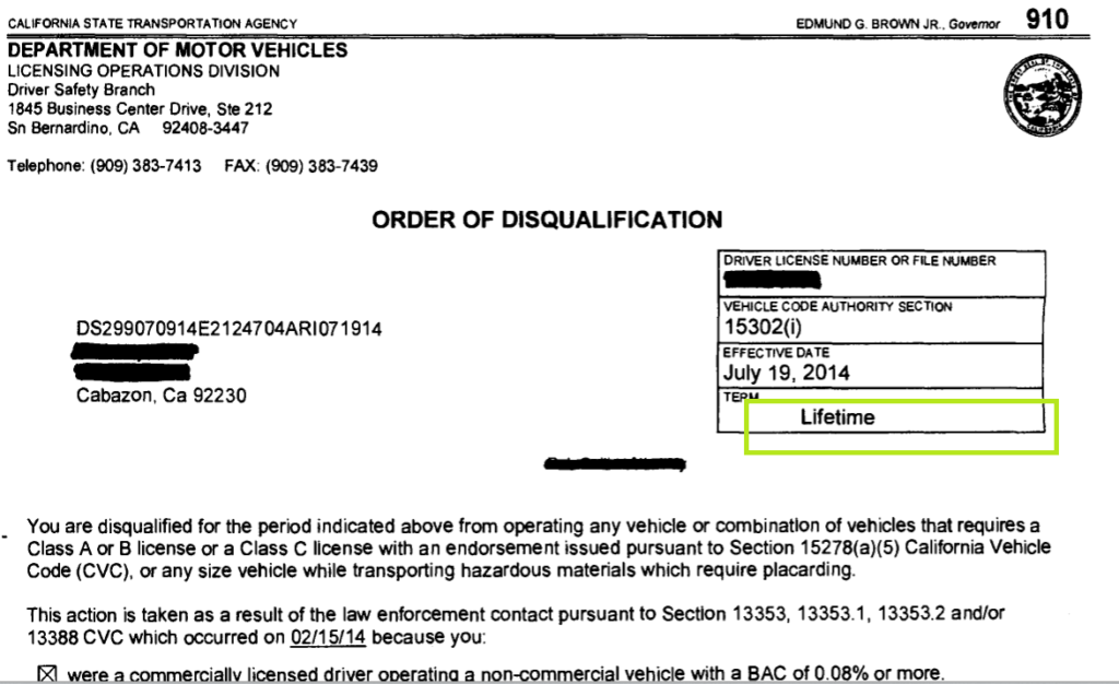 california dmv order of disqualification (lifetime) - what it
